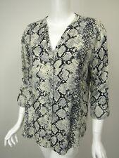 JOIE SOFT Ivory Gray Black Snake Print V-Neck Oversized Button Down Shirt sz M