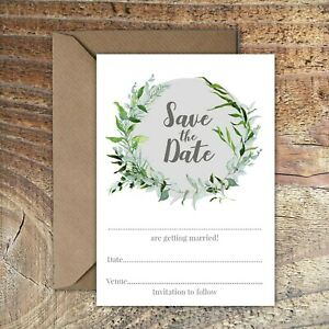 SAVE THE DATE BLANK WEDDING CARDS Grey & Greenery leaves wreath PK 5