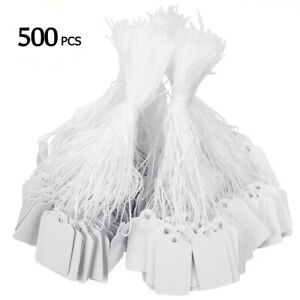 500pcs White Price Tags Sticker Tie String Strung Ticket Jewelry Commodity Label