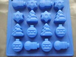 Silicone Mould Christmas Chocolate/ Sweets/ Ice Tray- Snowman, Bauble,Tree, Star