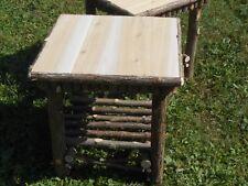 "One Twig Furniture End Table ,Rustic Cedar Log Stand 20"" x 20"" x 20"""