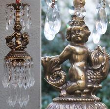 Cherub serpent SWAG Lamp Chandelier brass fish Vintage crystal light Nautical