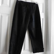 NWOT Malo Women's High End Black Capri Pants, Size 44/8, Cotton Blend, Italy
