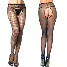 Black Crotchless Fishnet Tights Open Gusset Pantyhose Sheer Lingerie Stockings
