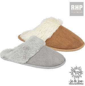 Ladies Womens Slip on Mule Slipper Fluffy Comfy Cozy Slippers Sheepskin Style