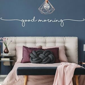 Good Morning Wall Sticker Decal | Vinyl Stencil Word Quote DIY Vinyl Bedroom