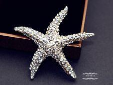 """2.25"""" Large Starfish Brooch Beach Wedding Bouquet Rhinestone Crystal Pin DIY"""