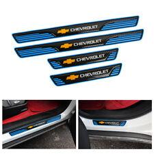 X4 Chevrolet Carbon Fiber & Rubber Car Door Plate Sill Scuff Cover Panel Protect
