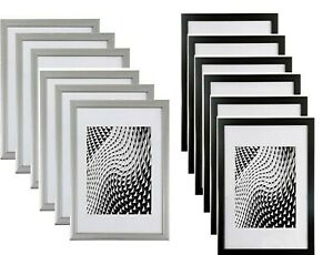 A4 Black/Silver Picture Photo Frames/ Clip Frameless Certificate Pack 6 Frames
