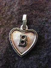 Pendentif Coeur Médaillon en Argent Plaqué Lettre B 1,5 cm