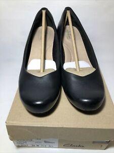 Clarks Flores Tulip Black Leather Women Wedges Shoes Size 10 W