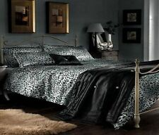 LUXURY SATIN LEOPARD PRINT SILVER & BLACK KING SIZE DUVET BED SET FITTED SHEET