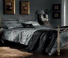 Luxe satin imprimé léopard argent & noir king size parure de lit ensemble de lit drap housse