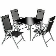 Aluminium Garden Furniture Set 8 1 Table and Chairs Dining Suite Foldig Glass Silver Grey