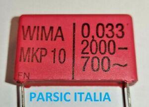 CONDENSATORE 0,033uF 2000V WIMA MKP10 POLIESTERE METAL. P=27,5mm (QTY: 2 PEZZI)