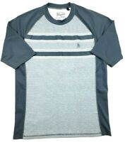 Penguin by Munsing Wear Mens XL Performance Stretch T-Shirt Grey Striped Spandex