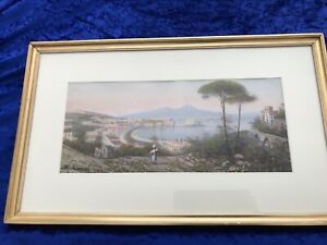 Maria Gianni-Panorama Of Naples-Gouache-C1920-Signed And Framed