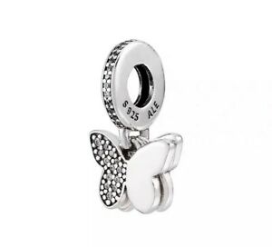 Authentic Pandora 791844 Silver 925 ALE Fluttering Butterflies Dangle Charm
