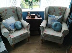Pair of duck egg blue ,floral and bird wing back chairs vgc