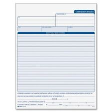"Cardinal Contractor's Invoice Book - 50 Sheet[s] - 3 Part - Carbonless - 11"" X"
