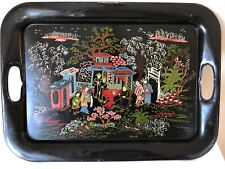 Vintage Tray Tole Tin w/ Handles Toleware Painted Asian Chinoiserie Decoration