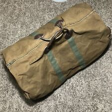 "Vtg LL Bean Brown Leather Handle Bottom Duffle 27"" Large Bag Talon Zip 60s 70s"