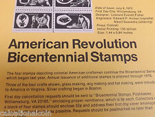 1972 American Revolution Bicentennial Stamps on Description Sheet 1st day issue