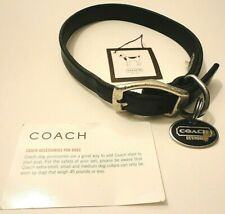 Coach Black Genuine Leather Size M Dog Collar With Tag/Charm