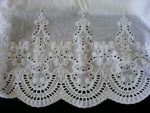 New White Embroidered Lace PillowCases Sham Cotton Sateen Standard Pair M2-1#