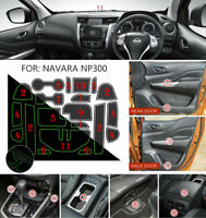 fits Nissan Navara NP300 D23 2015-18 Non-slip Inner Gate Slot Mat Cup Pads-White