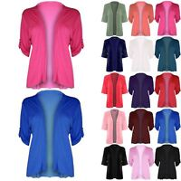 Womens Open Waterfall Button Top Ladies 3/4 Turn Up Sleeves Boyfriend Cardigan