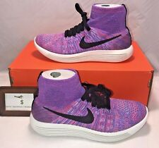 NIKE WOMENS SIZE 7 LUNAREPIC FLYKNIT RUNNING TRAINING SHOES HOT PUNCH PINK RARE