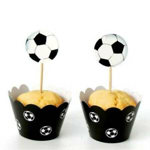 24Pcs Football Cupcake Wrappers and Toppers Birthday Party