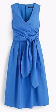 JCREW Wrap Dress in Cotton Poplin 12 Sundrenched pool blue $138 #f2303 NWT