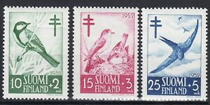 Swallow Great Tit Flycatcher Birds Semi Postal Finland Mint MNH Stamp Set 1952