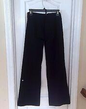 Lululemon sz 6 Tall black yoga pants, wide leg, drawstring waist, logo back left