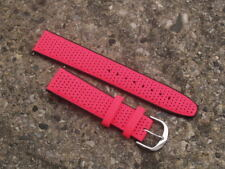 20 mm Fluorescente Rosa e Nero Capri Pelle Italiana Cinturino Orologio Rally Stile