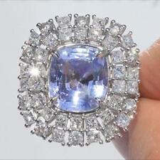 UNHEATED Blue Sapphire Diamond 14k White Gold Estate Ring 10.87 TCW Natural GEM