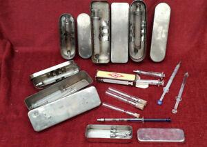 LOT seringue verre ancienne boite métal (s3) old glass syringe alte Glasspritze