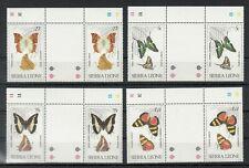 SIERRA LEONE, 1980 Schmetterlinge  614-17 **, Stegpaare, (27998)