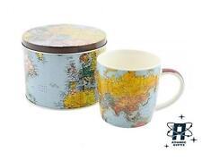 VINTAGE RETRO STYLE WORLD TRAVELER COFFEE MUG CUP IN GIFT TIN
