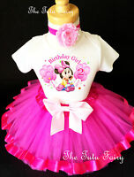 Baby Minnie Mouse Hot Pink 2nd Birthday Shirt Tutu Outfit Set Party girl