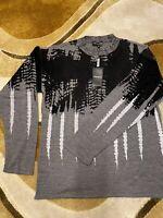 Emporio Armani Men's Black-Grey Jacquart Knit Mix Jumper (IT48/BNWT)