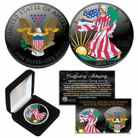 BLACK RUTHENIUM & COLORIZED 2-Sided 1 Troy Oz .999 2021 Silver Eagle Coin w/Box