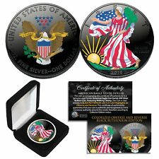 BLACK RUTHENIUM & COLORIZED 2-Sided 1 Troy Oz .999 2019 Silver Eagle Coin w/Box