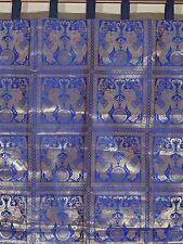 "Blue Living Room Curtain - Brocade Gold Elephant Stylish Indian Window Panel 84"""