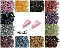 CHOOSE COLOR! 30pcs 5x8mm 2-hole Vexolo® Pressed Beads Czech Glass