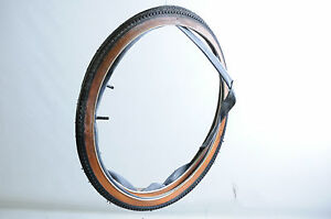"""PAIR 24 x1 3/8"""" VINTAGE JUNIOR RACING BIKE TYRES + TUBES  AMBER WALL STAINED"""