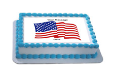 Novelty Personalised American Flag A4 Edible Icing Cake Topper birthday USA
