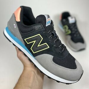 New Balance 574 Classic Sneakers Black Multicolor ML574UD2 Men's Shoes Size 10.5